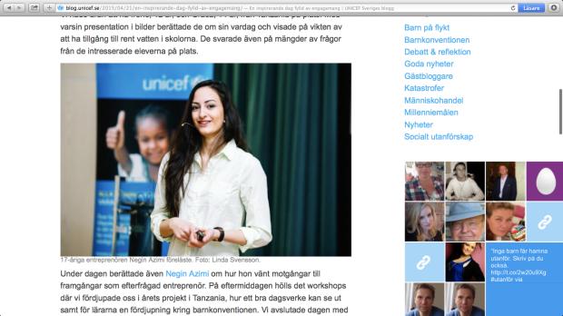 Negin Azimi-Unicef-föreläsare-ungentreprenör